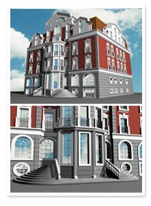 Визуализация здания гостиницы