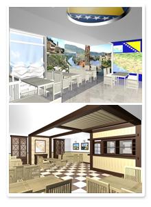 Проект интерьеров кафе Босния