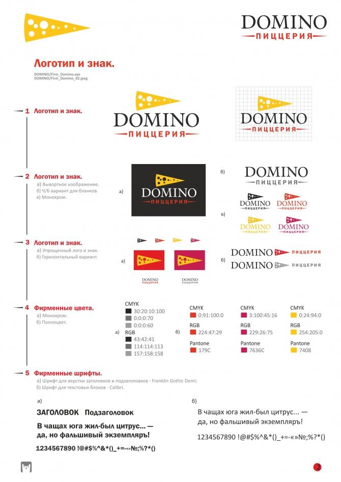 Фирменный стиль и сайт для пиццерии DOMINO